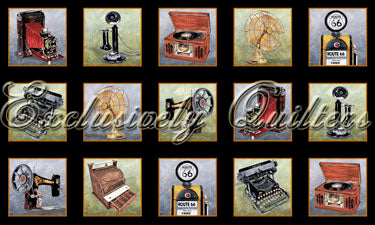 Mens Fabric Vintage Gadgets Panel 4041