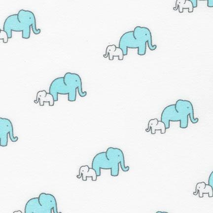 Flannel Fabric, Little Safari, Baby Animal Elephant Blue 4500 - Beautiful Quilt
