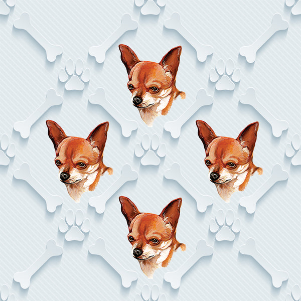 Dog Fabric, Chihuahua Fabric on Blue, Cotton or Fleece 3009 - Beautiful Quilt