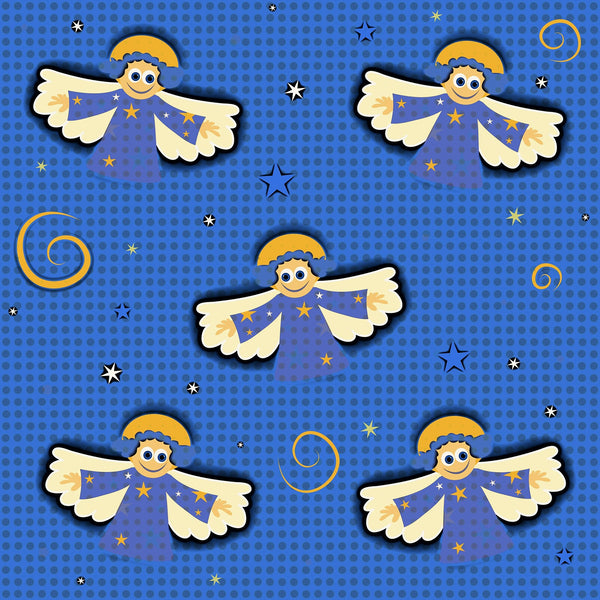 Angel Fabric, Children's Angels on Blue,  Fleece, 3335