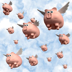 Pig Fabric, When Pigs Fly Fabric, Cotton or Fleece 1759
