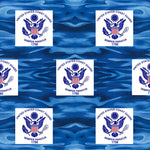 Military Fabric, Coast Guard Fabric, Logo on Ocean Waves, Cotton or Fleece 1353