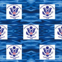 Military Fabric, Coast Guard Fabric, Logo on Ocean Waves, Cotton or Fleece 1353 - Beautiful Quilt