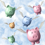Pig Fabric, Colorful When Pigs Fly Fabric, Cotton or Fleece 1760