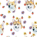 Dog Fabric, Corgi Fabric with flower and ladybugs, Cotton or Fleece, 1367 - Beautiful Quilt