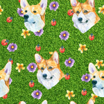 Dog Fabric, Corgi Fabric, Heads on Grass, Cotton or Fleece 2119 - Beautiful Quilt