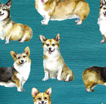 Dog Fabric, Corgi Fabric on Dark Teal, Cotton or Fleece, 2116 - Beautiful Quilt