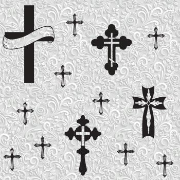 Religious Fabric, Cross Fabric, on White and Gray Swirl, Cotton or Fleece 5918 - Beautiful Quilt