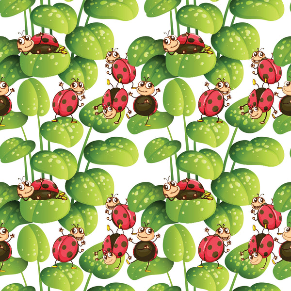 Bug Fabric, LadyBug fabric with leaves, Cotton or Fleece 1586 - Beautiful Quilt