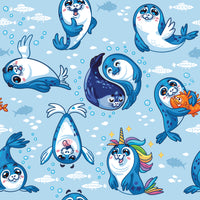 Ocean Fabric, Dolphin Baby Fabric, Cotton or Fleece 2102 - Beautiful Quilt