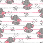 Children's Fabric, Elephant Fabric, Cartoon Baby Elephant Fabric w stripe, Cotton or Fleece 5867 - Beautiful Quilt