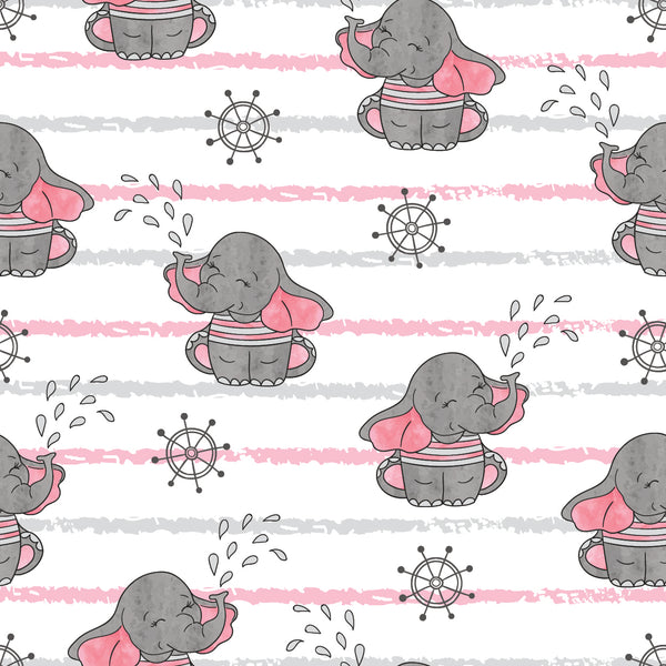 Children's Fabric, Elephant Fabric, Cartoon Baby Elephant Fabric w stripe 5867 - Beautiful Quilt
