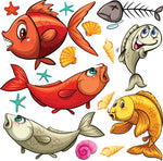 Childrens Fabric, Custom Print Fabric, Whimsical Fish Shells and Fish Bones 5594 - Beautiful Quilt