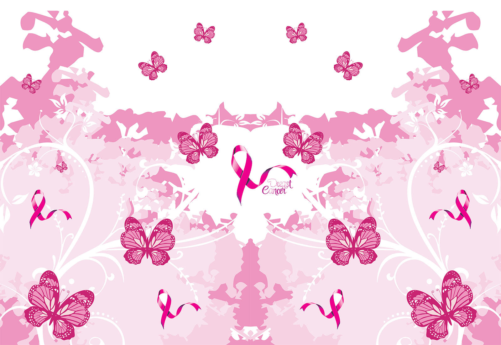 Cancer Fabric Breast Cancer Fabric Awareness Fabric Pink Butterfly Cotton Or Fleece 5792