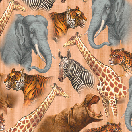 African Animal Fabric QT Out of Africa Elephant Giraffe 5312