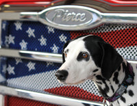 Dog Fabric, Dalmatian Fabric Panel with Flag 1851 - Beautiful Quilt