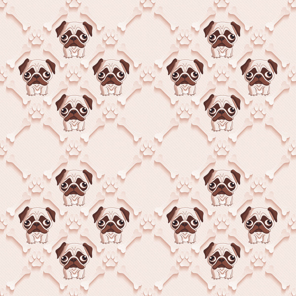 Dog Fabric, Pug Fabric Pugs with Bones on tan 5716