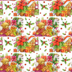 Christmas Fabric, Teddy Bears and Presents Fabric, Cotton or Fleece, 3334