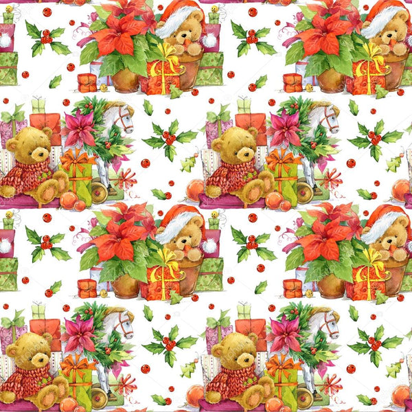 Christmas Fabric, Teddy Bears and Presents Fabric, Cotton or Fleece, 3334 - Beautiful Quilt