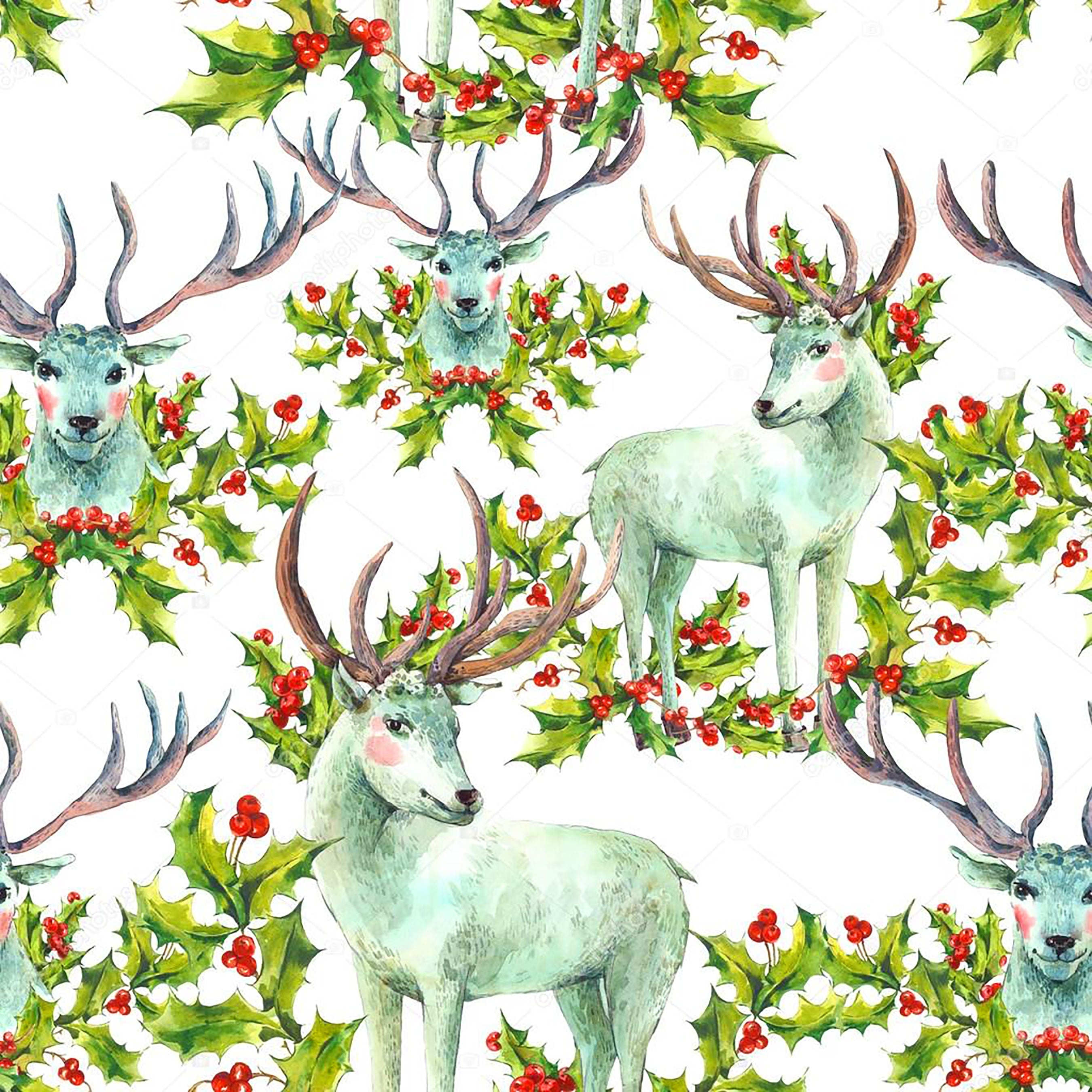 Christmas Fabric Reindeer And Holly Fabric Cotton Or Fleece 2043 Beautiful Quilt