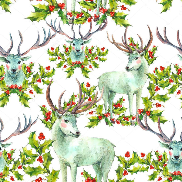 Christmas Fabric, Reindeer and Holly Fabric, Cotton or Fleece 2043- - Beautiful Quilt