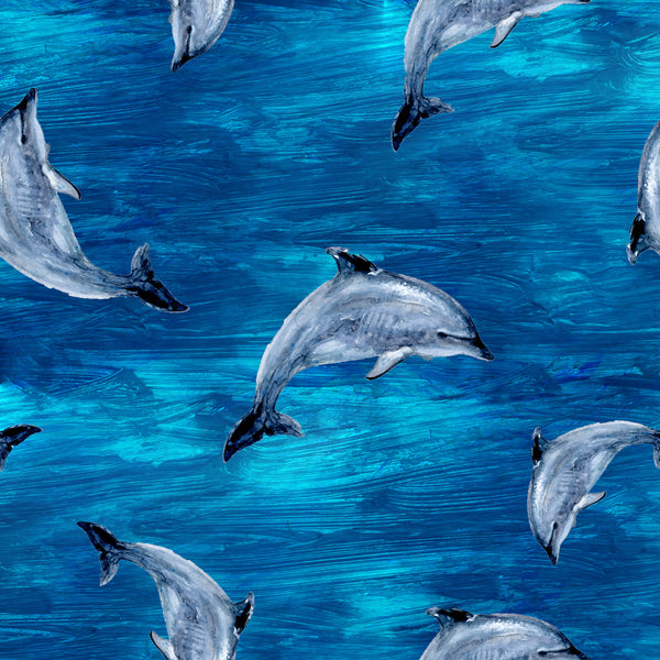 Ocean Fabric, Dolphin Fabric, Dolphins Jumping, Cotton or Fleece 2075 - Beautiful Quilt
