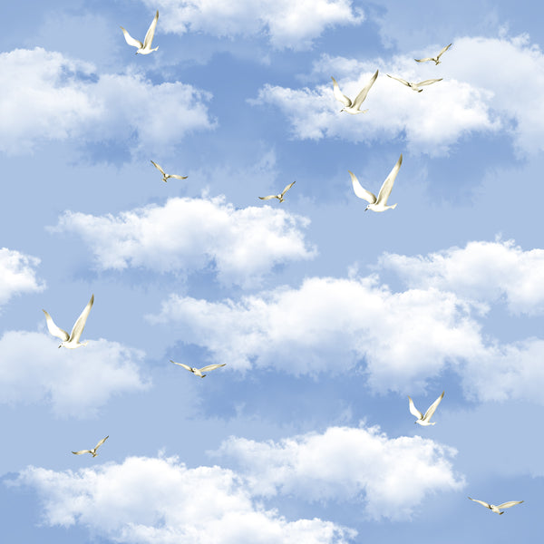 Landscape Fabric, Sky Fabric with Doves, Cotton or Fleece 3529 - Beautiful Quilt
