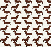 Dog Fabric, Dachshund Fabric Silhouette, Brown, Cotton or Fleece 5709 - Beautiful Quilt
