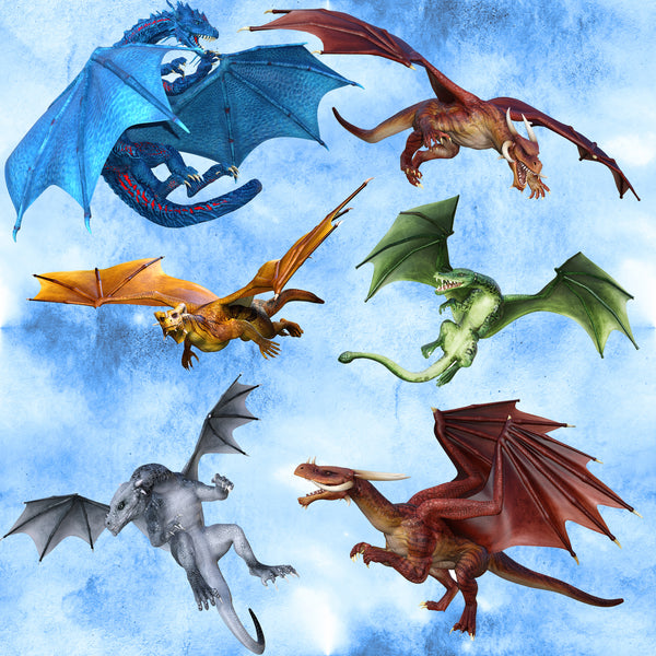Dragon Fabric on Light Blue, Cotton or Fleece, 3366