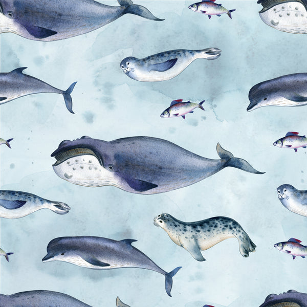 Ocean Fabric, Whale Fabric, Seal Fabric, Cotton or Fleece, 3538 - Beautiful Quilt