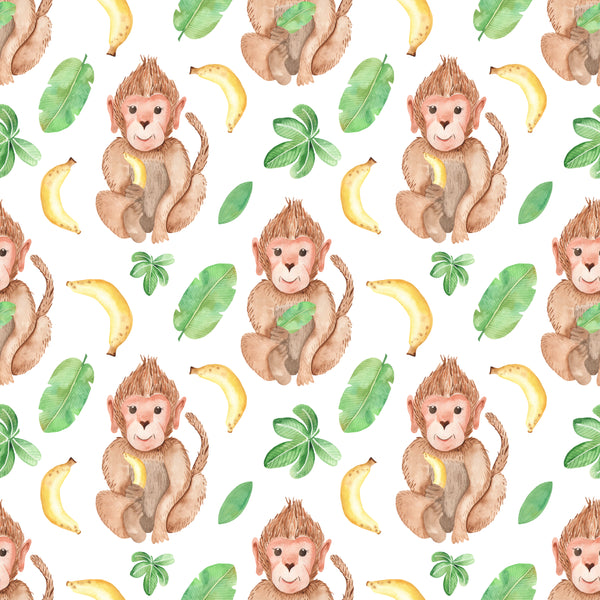 Animal Fabric, Sitting Monkey Fabric, Cotton or Fleece, 3413 - Beautiful Quilt