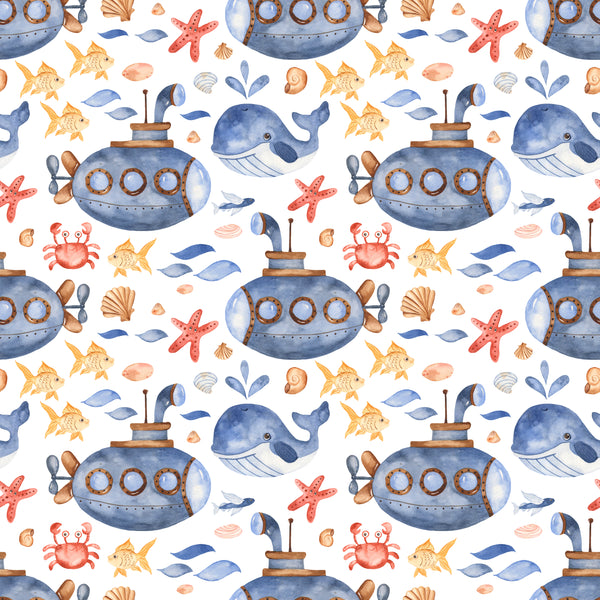 Ocean Fabric, Submarine Fabric, Cotton or Fleece, 3641 - Beautiful Quilt