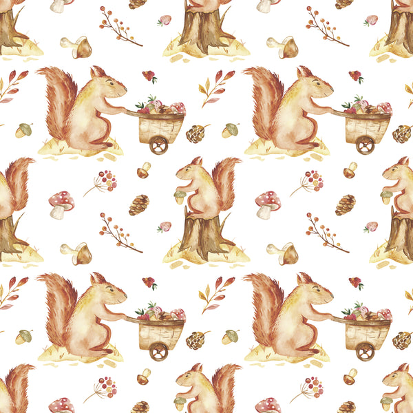 Animal Fabric, Watercolor Squirrel Fabric, Cotton or Fleece, 3565 - Beautiful Quilt