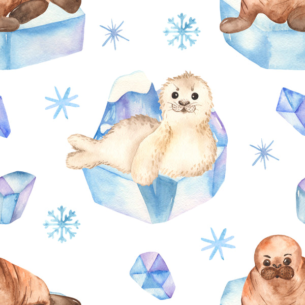 Children's Fabric, Ocean Fabric, Seal Fabric, Cute seals on white 3700 - Beautiful Quilt