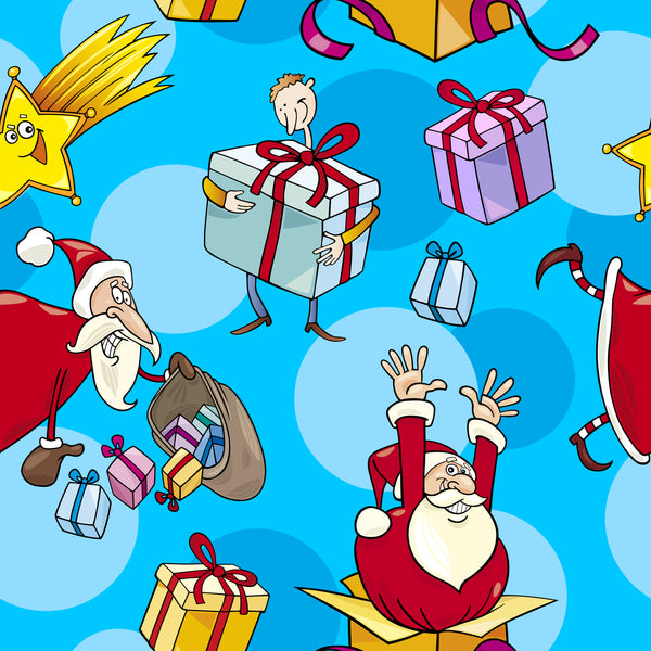 Christmas Fabric, Santa and Presents on blue, Cotton or Fleece, 3325