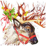Christmas Fabric, Reindeer Head Fabric Panel, 3336
