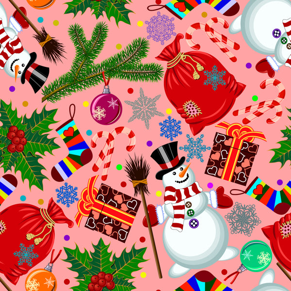 Christmas Fabric, Snowmen and Presents on Pink, Cotton or Fleece, 3352