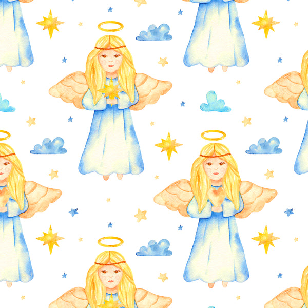 Religious Fabric, Children's Fabric, Angel Fabric, Yellow and Blue, Cotton or Fleece 2206 - Beautiful Quilt