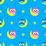 Children's Fabric, Owls sitting on the Moon, Cotton or Fleece 2215 - Beautiful Quilt