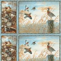 Quail Fabric,  Wildlife Panel, Hunting fabric blue 1487 - Beautiful Quilt
