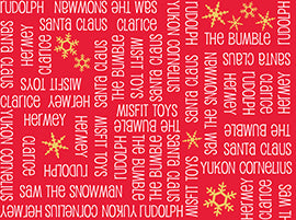 Christmas Fabric QT Rudolph 50 Year words Red 3816