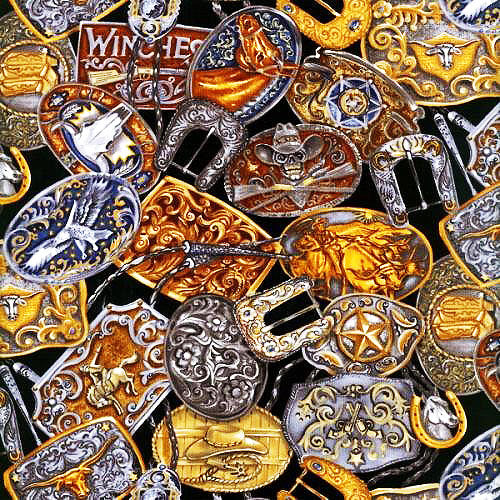 Western Fabric Belt Buckles Fabric 5514 - Beautiful Quilt