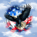 Patriotic Fabric, Eagle Fabric on a sky background 1546 - Beautiful Quilt