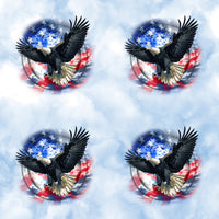 Patriotic Fabric, Eagle Fabric on a sky background, yardage, Cotton or Fleece 1547 - Beautiful Quilt