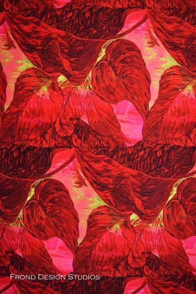 Flower Fabric Frond Una's Garden Leaf Red 5172