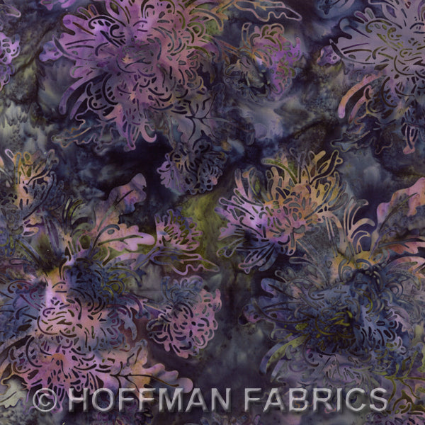 Batik Fabric Hoffman Fabrics flowers sea holly 2994 - Beautiful Quilt