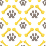 Dog Fabric Paw and Bone Fabric On Point Gray and Yellow 5706