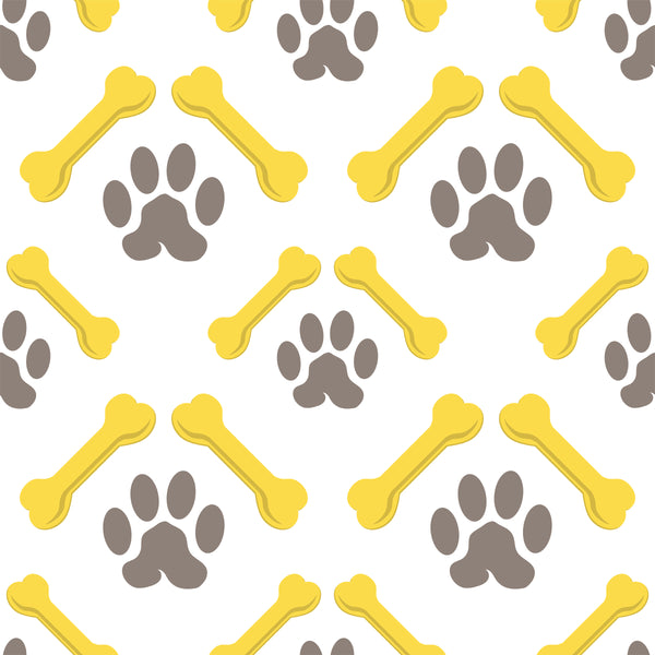 Dog Fabric, Bones and Paws, Gray and Yellow, Cotton or Fleece 5706 - Beautiful Quilt