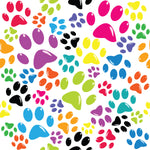 Dog Fabric, Dog Paw Fabric Multi Color, Cotton or Fleece 5708 - Beautiful Quilt