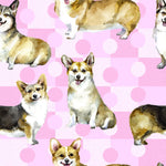 Dog Fabric, Corgi Fabric on a Pink Background, Cotton or Fleece, 2118